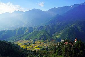 Hintergrundbilder Vietnam Gebirge Felder Gebäude Muong Hoa Valley Sapa Natur