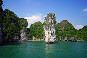 Hintergrundbilder Vietnam Tropen Bucht Felsen Lan Ha Bay