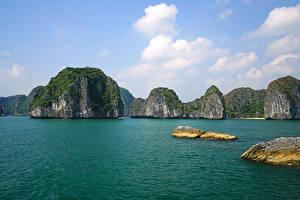 Bilder Vietnam Tropen Bucht Felsen Lan Ha Bay