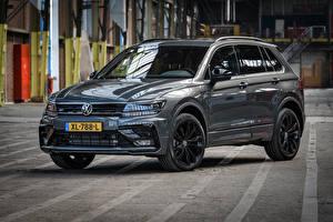Bilder Volkswagen Grau Metallisch 2018-19 Tiguan R-Line Black Style Worldwide