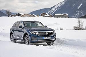 Bureaubladachtergronden Volkswagen Blauw kleur Metallic 2018-19 Touareg V6 TDI Worldwide Auto
