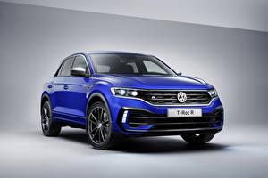 Bureaubladachtergronden Volkswagen Blauw kleur 2019 Volkswagen T-Roc R Worldwide automobiel
