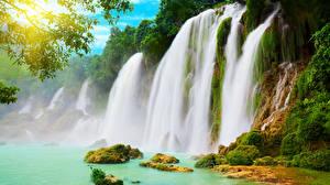 Hintergrundbilder Wasserfall Felsen Laubmoose