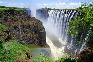 Bureaubladachtergronden Watervall Ravijn klif landform Regenboog Rainbow Falls Victoria Falls Zambia