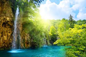 壁纸、滝、夏、川、光線、自然、