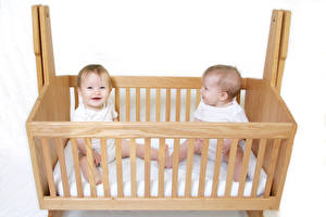 Picture White background Bed Infants Two From wood Children
