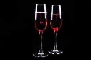 Picture Wine Black background Two Stemware Food