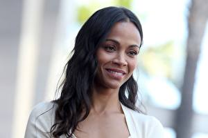 Images Zoe Saldana Brunette girl Smile Girls