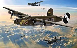 Hintergrundbilder Flugzeuge Bomber Gezeichnet Flug US B-24 8th Air Force 453rd BG 734th BS Jimmy Stewart ''Male Call'' Luftfahrt