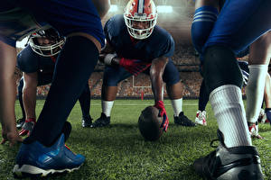 Photo American football Man Helmet Ball Legs sports