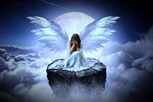 Picture Angels Clouds Moon Cliff Sitting Wings Gloomy Girls