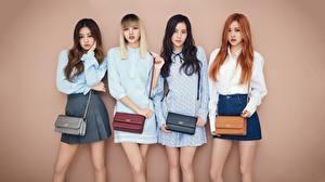 Bilder Asiatische Handtasche Schöner Kleid Rock Farbigen hintergrund Vier 4 Blackpink Rose Kpop Lisa Jennie Jisoo Mädchens
