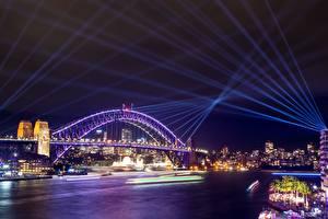 Pictures Australia Bridges Sydney Night Rays of light Cities