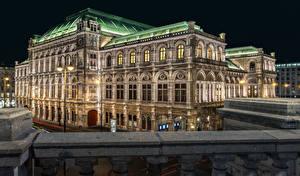 Bilder Österreich Wien Haus Nacht Straßenlaterne State Opera