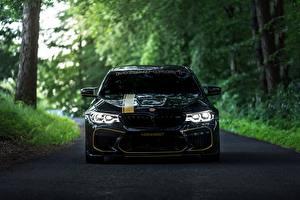 Hintergrundbilder BMW Vorne Schwarz 2018 Biturbo Manhart M5 V8 F90 MH5 700 Autos