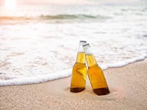 Wallpapers Beer Sea Bottles Two Foam Sand Food