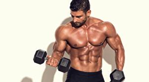 Photo Bodybuilding Man Muscle Belly Hands Dumbbells Sport