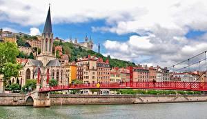 Hintergrundbilder Brücken Gebäude Flusse Frankreich Kirche Lyon St George's Bridge Fourviere Hill Städte