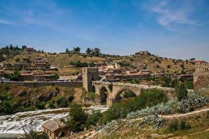 Hintergrundbilder Brücke Flusse Spanien bridge of St. Martin, Tagus river, Toledo Städte