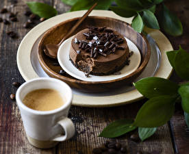 Wallpapers Cake Chocolate Coffee Cappuccino Wood planks Plate Cup