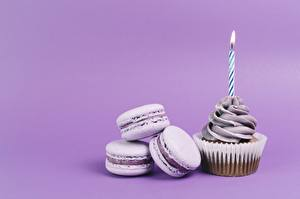 Images Candles Fairy cake Macaron Colored background Food