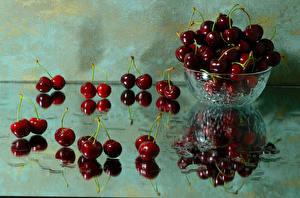 Wallpaper Cherry Reflected Bowl Glass