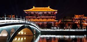 Bilder China Brücke Gebäude Nacht Tang Paradise Park, Xian Städte