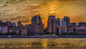 Wallpapers China Shanghai Houses River Sunrises and sunsets Berth Riverboat HDR Cities