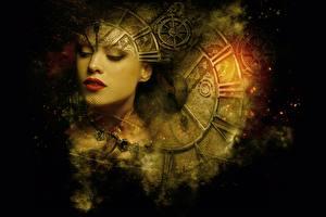 桌面壁纸,,時鐘,臉,齿轮,千變萬化的風,奇幻作品,女孩