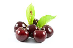 Picture Closeup Berry Cherry White background Leaf Food