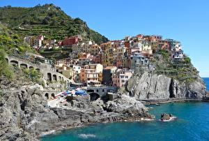 Hintergrundbilder Küste Gebäude Italien Ligurien Cinque Terre Park Felsen Manarola Städte