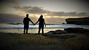 Fotos & Bilder Küste Steine Paare in der Liebe Meer Zwei Silhouette Natur