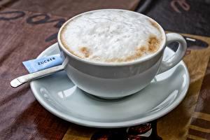 Bilder Kaffee Cappuccino Tasse Schaum Untertasse das Essen
