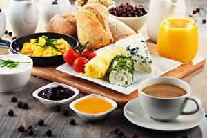 Bilder Kaffee Fruchtsaft Konfitüre Honig Brot Käse Tomate Frühstück Tasse Trinkglas