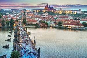 Wallpaper Czech Republic Prague Evening Building Bridges River Cities