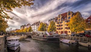 Images Denmark Houses Pier Bridges Autumn Riverboat Copenhagen Canal