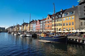 Pictures Denmark Building Berth Sailing Riverboat Copenhagen Cities