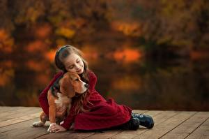 Bilder Hunde Beagle Umarmung Kleine Mädchen Ekaterina Borisova Kinder Tiere