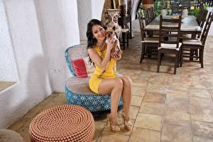 Fotos Hunde Melisa Mendiny Brünette Sitzend Lächeln Bein High Heels Mädchens