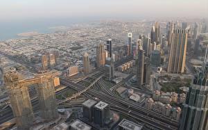 Bakgrunnsbilder Dubai De forente arabiske emirater Skyskrapere Megalopolis Ovenfra en by