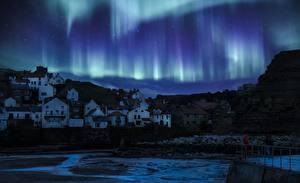 Bilder England Haus Nacht Dorf Aurora borealis Yorkshire