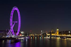 Fotos England Flusse London Nacht Big Ben Riesenrad Thames Städte