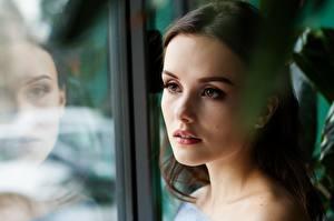 Fotos Gesicht Starren Spiegelung Spiegelbild Brünette Schön Mädchens