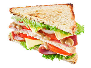 Pictures Fast food Sandwich Bread Closeup White background