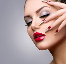 Photo Fingers Makeup Manicure Face Red lips Girls