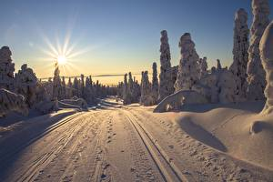 Pictures Finland Lapland region Sunrise and sunset Roads Winter Scenery Sun Rays of light Snow Nature