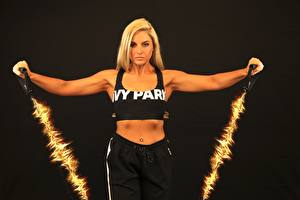 Pictures Fitness Black background Physical exercise Blonde girl Sport Girls