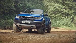 Wallpaper Ford Front Blue Pickup Ranger Raptor 2018 automobile