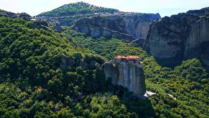 Photo Forests Monastery Greece Cliff Meteora Monasteries, monastery of St. Barlaam Nature