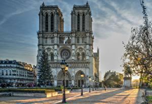 Bilder Frankreich Morgen Kathedrale Paris Straßenlaterne Stadtstraße Notre Dame Städte